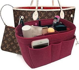 Felt Insert Fabric Purse Organizer Bag, Bag Insert In Bag with Zipper Inner Pocket Fits Neverfull Speedy