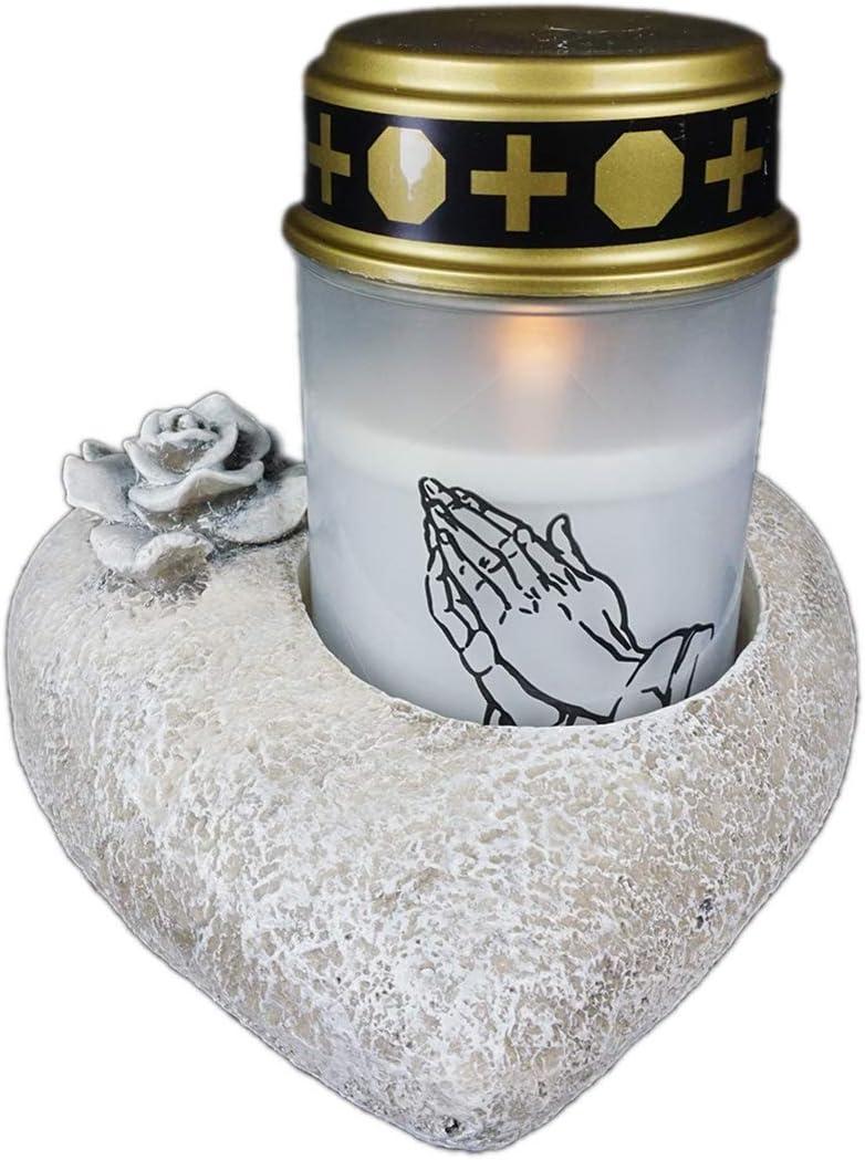 Novaliv Grabschmuck I Herz Rose I Grau I Grabdeko Herz Grabherz grabdekoration Gedenkstein Teelichthalter Herz Trauerstein