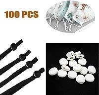 100 Pcs//Black 100 PCS Cord Locks Soft Silicone Rubber Stop Toggle Stoppers Mini Lock Barrel for Mask Elastic Drawstrings Elastic String Rope Adjustable Buckle Non Slip