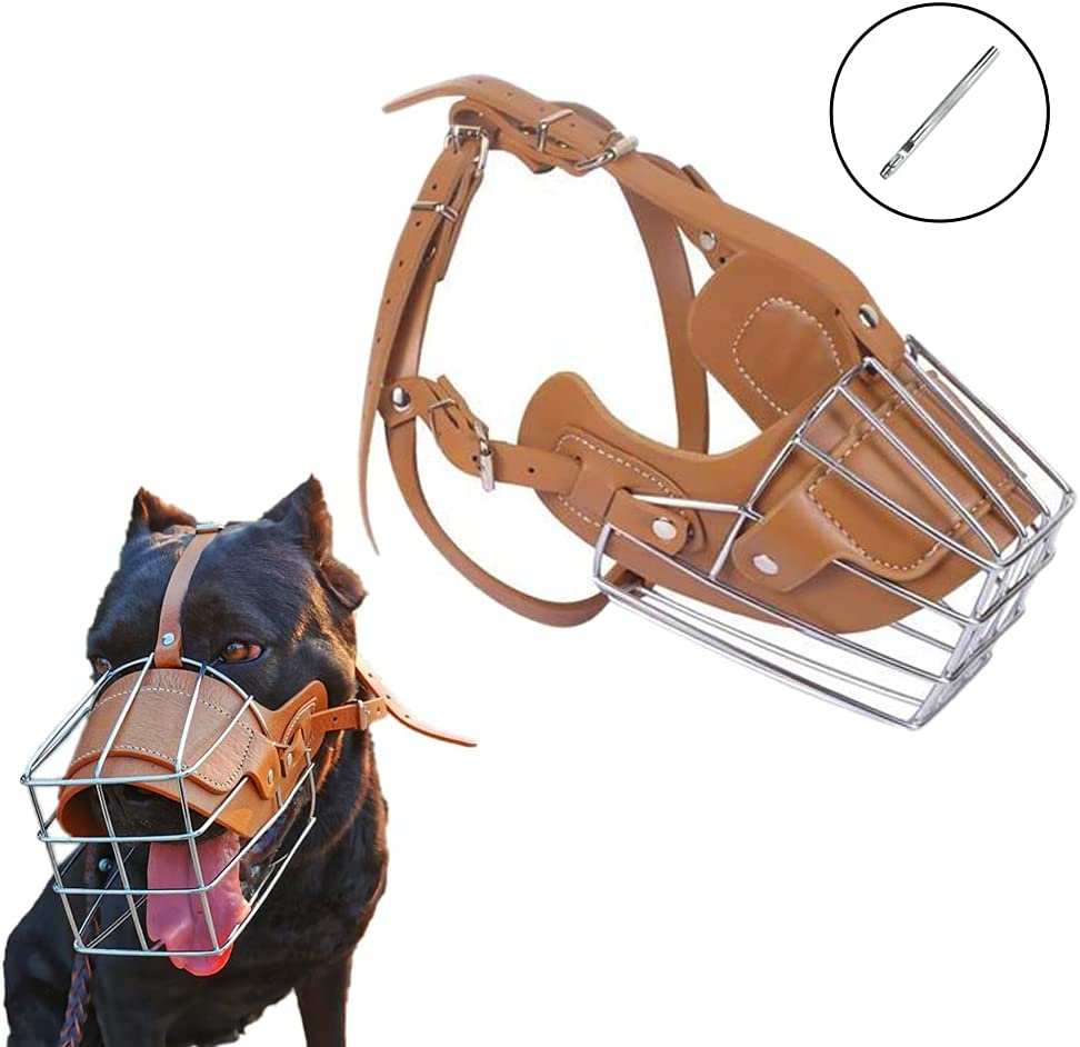HITNEXT Dog Muzzle Basket Metal Leather Brown Bi for Selling and selling Muzzles Max 66% OFF