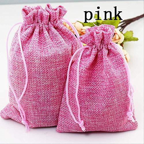 50 piezas 13 * 18 cm bolsa de yute colorida cordón de arpillera para decoración de boda cuentas de regalo de caramelo joyería bolsas suministros rosa