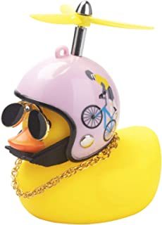wonuu Rubber Duck Toy Car Ornaments Yellow Duck Car Dashboard Decorations Cool Glasses Duck with Propeller Helmet (Pink Bi...