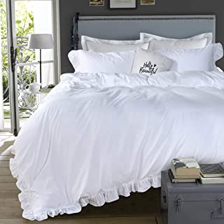 Queen's House 3 Pieces Duvet Cover Set Washed Cotton White Ruffled Duvet Quilt Cover with Zipper Bedding Set King Size-Shabby Ruffle,White
