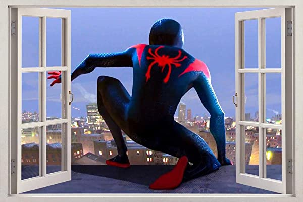 Spider Man INTO The Spider Verse 3D Window Decal Wall Sticker Super Hero W002 Regular