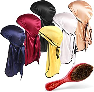 6 Pack Silky Durag with Wave Brush Elastic Headwrap Cap with Long Tail for Men&Women Hair Waves