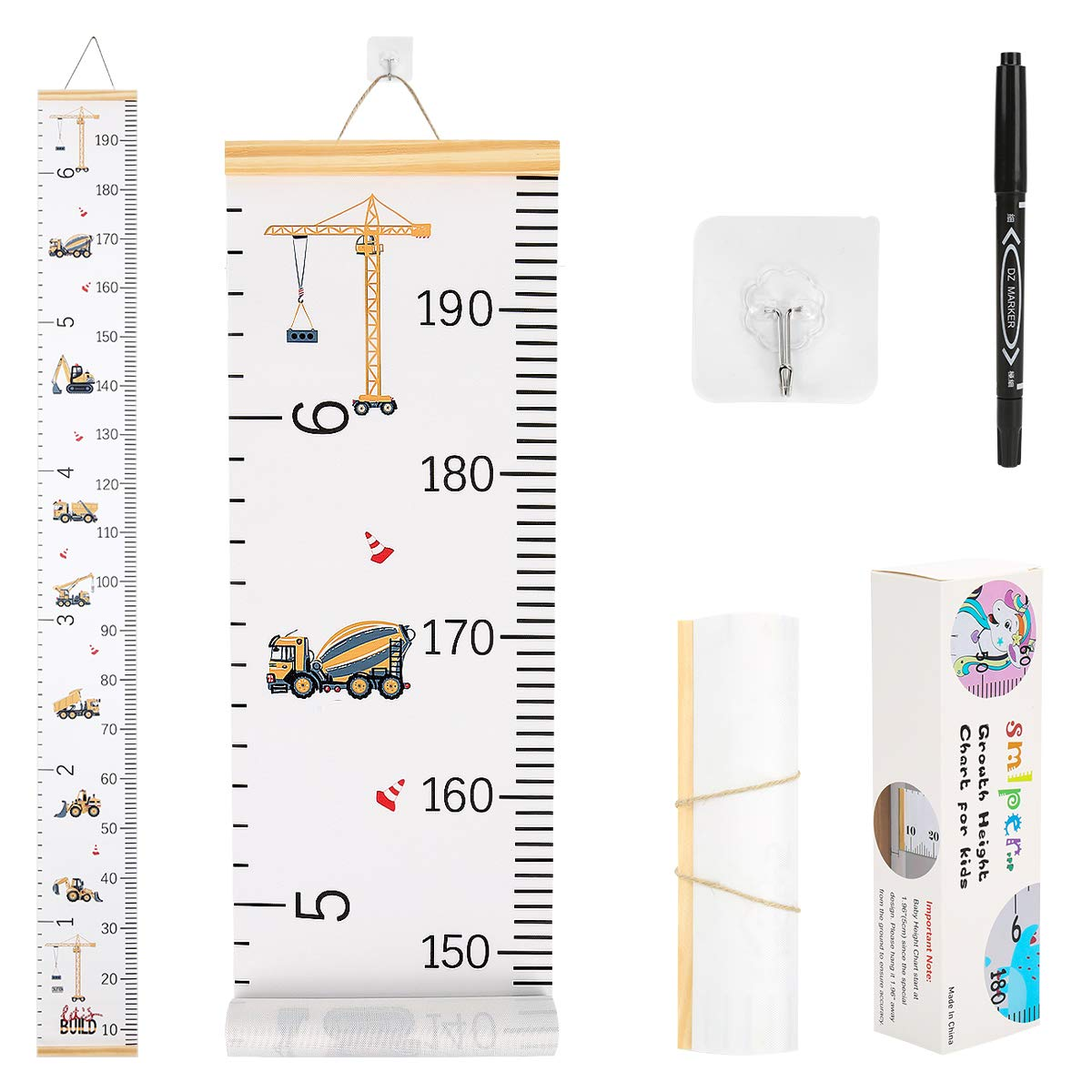 Smlper Growth Chart for Kids,Child Height Chart Ruler for Wall,Wood Frame  Fabric Canvas Height Measurement Ruler for Kids Nursery Room,Removable Wall  ...