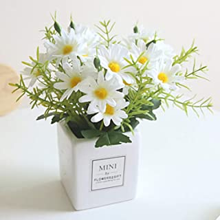 Artificial Flowers, Daisy Flower with Vase Silky Artificial Daisies Bouquet Fake Plant Bonsai for Home Office Wedding Decoration, Table Centerpieces Arrangement, Windowsill Decor(White)