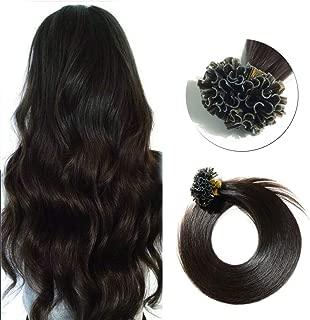 SEGO Pre Bonded U Tip Hair Extensions Human Hair 100 Strands Keratin Fushion Nail Tip Human Hair Extensions 100% Real Remy Hair Silky Straight #02 Dark Brown 24 inches 50g
