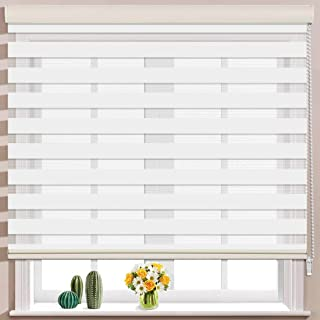 Keego Window Blinds Custom Cut to Size, White Zebra Blinds with Dual Layer Roller Shades, [Size W 25 x H 64] Dual Layer Sheer or Privacy Light Control for Day and Night