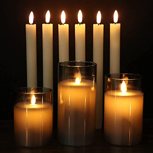 high quality GenSwin high quality 6 Pack Flameless Taper Candles with Remote & discount 3 Pack Glass Flameless Candles with Remote online