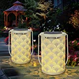 Solar Lantern Light for Decor - Deaunbr Outdoor Tabletop Lanterns Waterproof Lamp Hanging Garden Lights with Handle Decorations for Patio, Backyard, Pathway, Yard Tree - White (2 Pack)