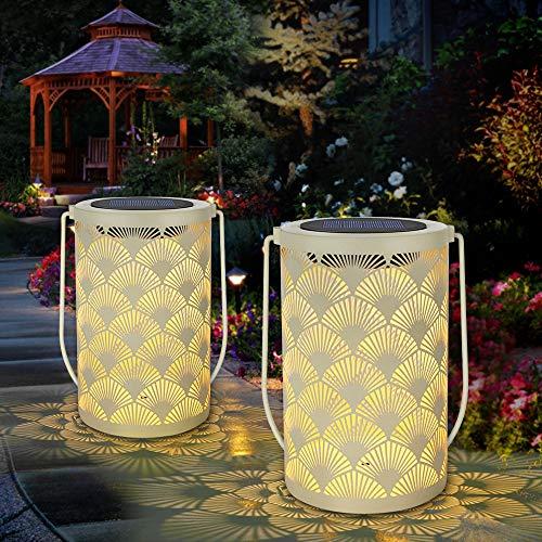 Lanterne solaire pour décor Lanternes de table extérieures Lampe étanche Lampes de jardin suspendues avec décorations de poignée pour patio, arrière cour, chemin(paquet de 2)
