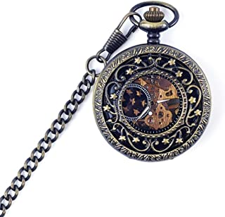 Watch Bronze Flip Retro Mechanical Pocket Watch Students Hollowed Out Commemorative Men's and Women's Pocket Watch, Fashion Watch (Color : Black, Size : 4.7x1.5cm)