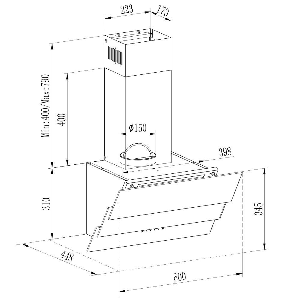 vlano Celine 600 WH • eficiencia energética A • Campana extractora • Campana • pared • Extractor • Blanco • hasta 600 m³/h Canalizado Potencia • 3 niveles de potencia • Silencioso:
