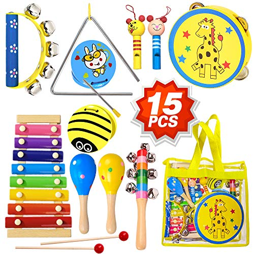 ToyerBee Musical Instruments Toys Set for Kids, 15PCS Wooden Percussion Instruments for Toddlers, Preschool& Educational Toy with StorageBag, Tambourine, Maracas, Castanets& More for Boys and Girls.