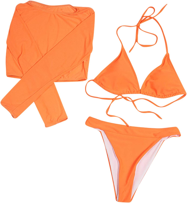 YAnGSale Women's 3 Piece Swimsuit Halter Bandage Bikini Top & Bikini Bottoms & Mesh Sunscreen Smock