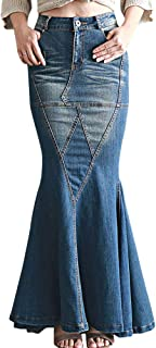 Women's Casual Stretch Waist Washed Denim Ruffle Fishtail Skirts Long Jean Skirt
