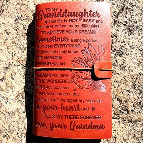 To My Granddaughter Leather Journal I LL STAY FOREVER 120 Page Travel Journal Diary Sketch Book product image