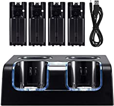 Wii Charger Station for Wii Controller, Wii Remote Charger with 4 Rechargeable Batteries USB Charging Cord LED Indicator -... photo