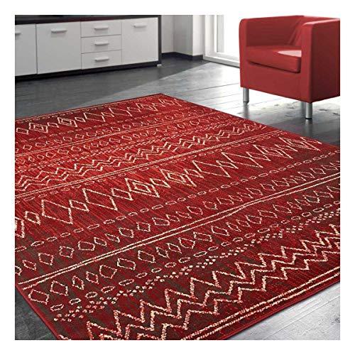 UN AMOUR DE TAPIS 140x200 Tapis Moderne pour Salon Design Scandinave Berbere Ethnique - Grand Tapis Salon Rouge