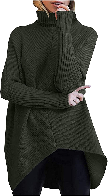 Eduavar Women's Loose Oversize Turtleneck Sweaters Long Sleeve Button Down Pullover Tops Asymmetric Hem Outwear Capes