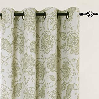 jinchan Blackout Drapes Floral Scroll Printed Linen Textured Curtains Grommet Top Ikat Flax Textured Medallion Design Jacobean Curtains Retro Bedroom Window Treatments Sage 84 inch One Pair