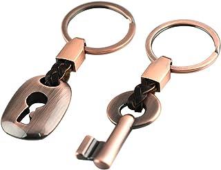 WINOMO Bilbil nyckelring nyckelring ring nyckelring nyckellås gåva kreativt mode läder 1 par (röd brons)