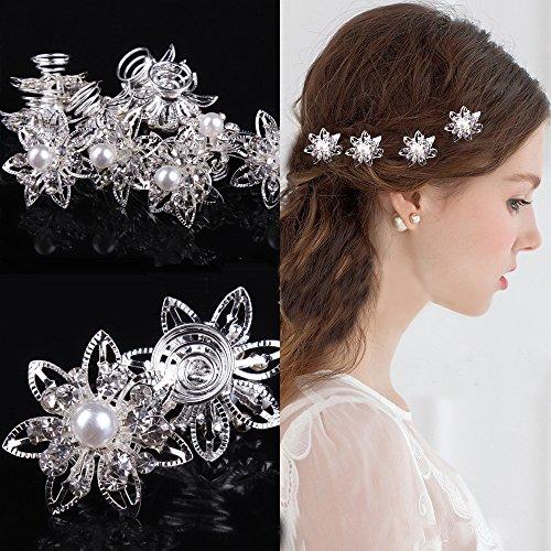 Miya ® de 4 Magnifiques étoiles kristallien épingles à Cheveux en Forme de Spirale de Fleurs, Perles, Strass, Perles de Strass pour mariée Mariage jugendweihe Cheveux en Forme de Spirale