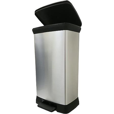 Curver Cubo de basura con pedal Touch de efecto metálico, color plateado, 50 litros