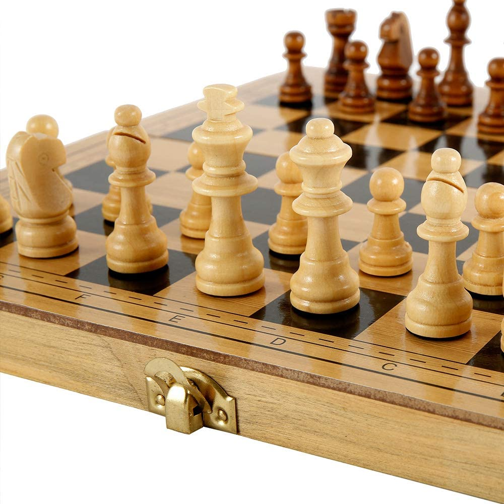 B Keyohome Wooden Chess Set Folding Portable Crafted Magnetic International Chess Pieces Tournament Staunton Chess Pieces Entertainment Board Game Set