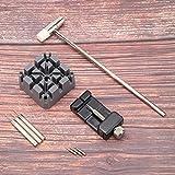 DAUERHAFT 9pcs / Set Kit de reparación de Reloj con Aguja de perforación y abridor de Caja de Reloj Negro, para relojeros y Trabajadores de reparación de Relojes, para Abrir la Caja Trasera del