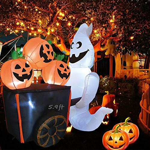 EnweNge Halloween Inflatable Decorations, Inflatable Ghost with Pumpkin Cart with Build-in 5 LED Outdoor Halloween Decorations for Halloween Party Indoor, Outdoor, Yard, Garden