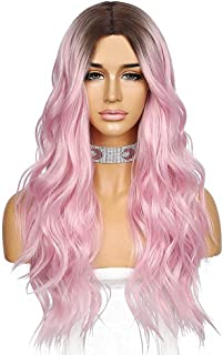 Sapphirewigs Ombre Wavy Wig Dark to Baby Pink Color Hair High Density Heat Resistant Synthetic Hair Weave Full Wigs Cospla...