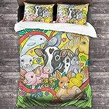 Vegan for Life Parure de lit 3 pièces 216 x 177 cm Housse de couette chaude super douce et chaude pour lit queen size avec 2 taies d'oreiller