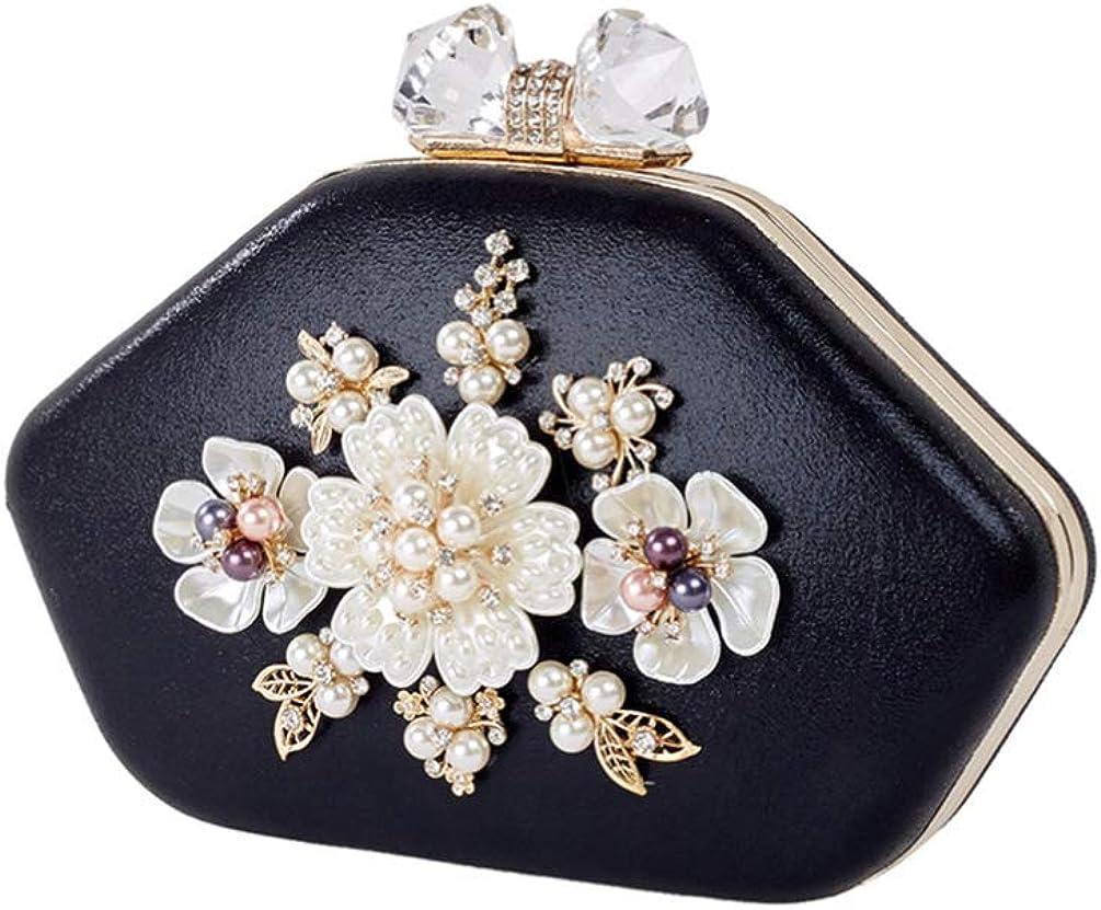 TENDYCOCO sac de soirée à fleurs avec pochette sac à main de mariée pour femme Noir