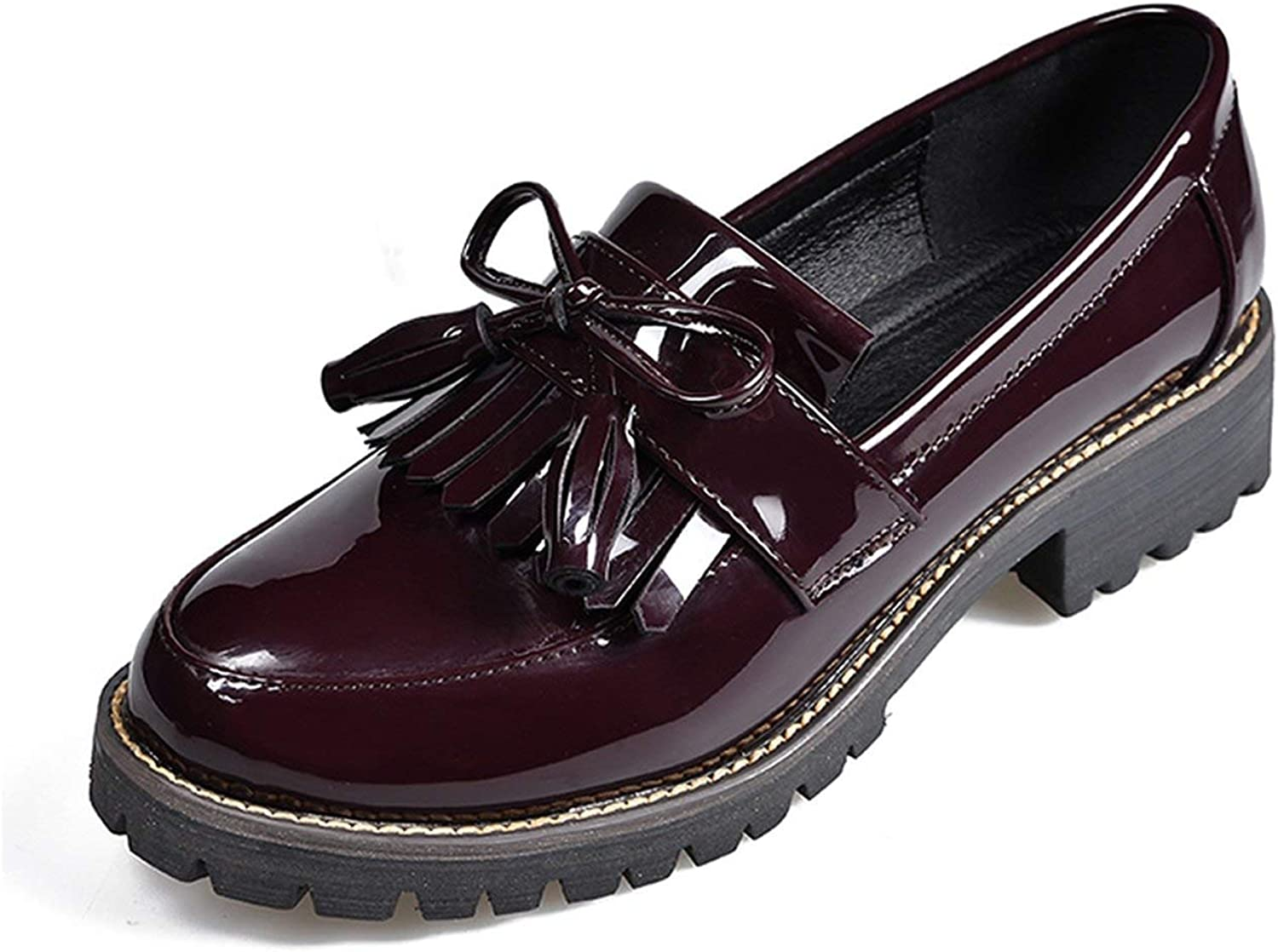 Every kind of beauty Women Low Heels Autumn Woman' shoes Fashion Tassels Patent Leather Platform shoes for Woman Sewing Slip On Female Footwear