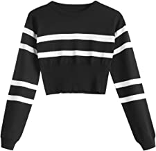 ZAFUL Women Striped Round Neck Short Sweater Long Sleeve Basic Knitted Crop Top