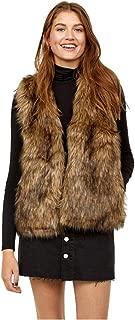 Women Faux Fur Vest Brown Vintage Warm Waistcoat Sleeveless Jacket