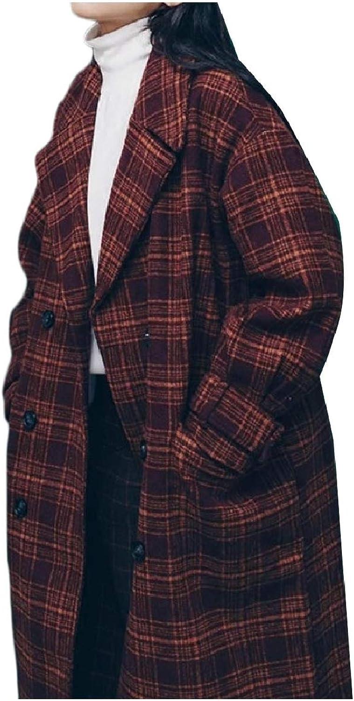 Abetteric Women's Panelled TurnDown Collar Wool Blend Fall Winter Overcoat