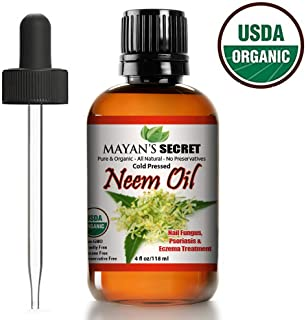 Organic Neem Oil 100% Pure Cold Press, Unrefined for Skincare, Hair Care, and Natural Bug Repellent