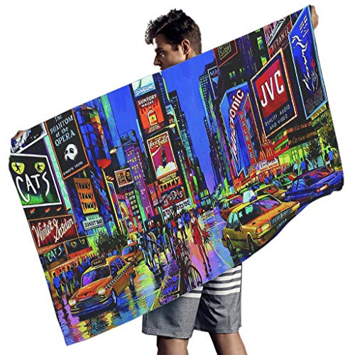 nanjingjin New York Times Square view Microfiber Polyester Rectangle Beach Towel Blanket Quick Dry Super Soft Large Sand Free Pool for Travel 59x30 inch white 150x75 cm