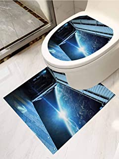 AuraiseHome Outer Space Toilet Seats Stickers Removable 2-Piece Suit Interstellar Airlock Shuttle Runway Gate Journey to The Stars Invasion View Bathroom Decoration Decal Blue Gray