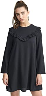 CHOCOLATE PICKLE Womens Plus Size Black Frill Detail at Front Solid Color Woven Skater Dress