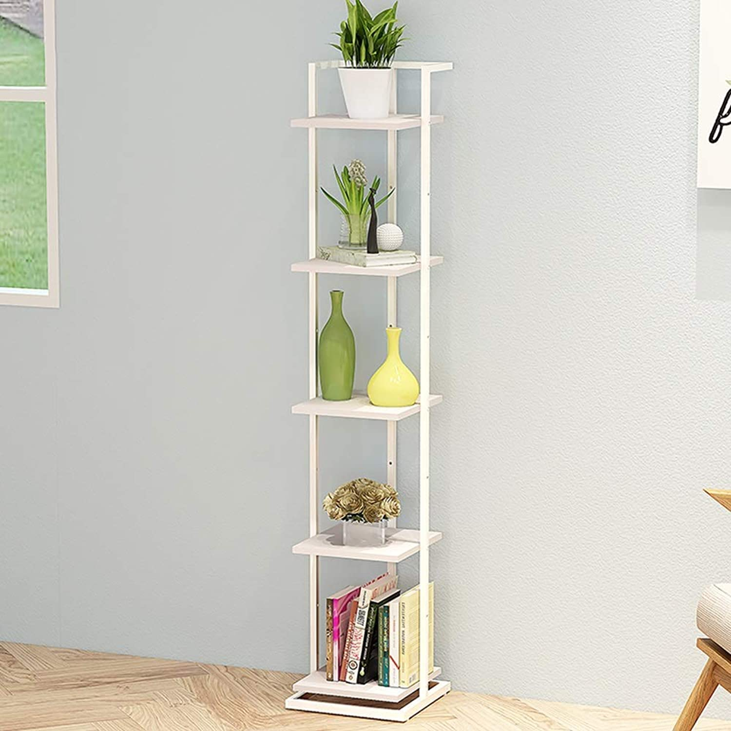 Bookcase Wrought Iron Bookshelf Storage Partition Racks Floor Bed Frame Bedroom Decorative Wood Shelf Iron Art,White,L