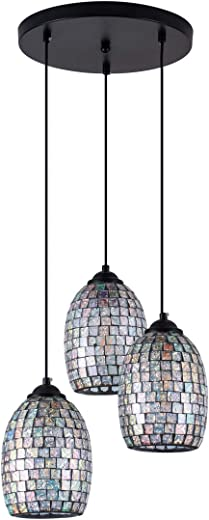 ✅SHENGYADI 3-Light Kitchen Island Pendant, Painted Finish with Hand-Crafted Mosaic Glass Shape, Modern Lighting Fixtures Ceiling Hanging #Lighting & Ceiling Fans