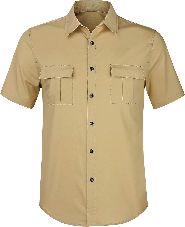 Lars Amadeus Men's Cargo Shirt Short Sleeves Regular Fit Button Down Safari Shirts