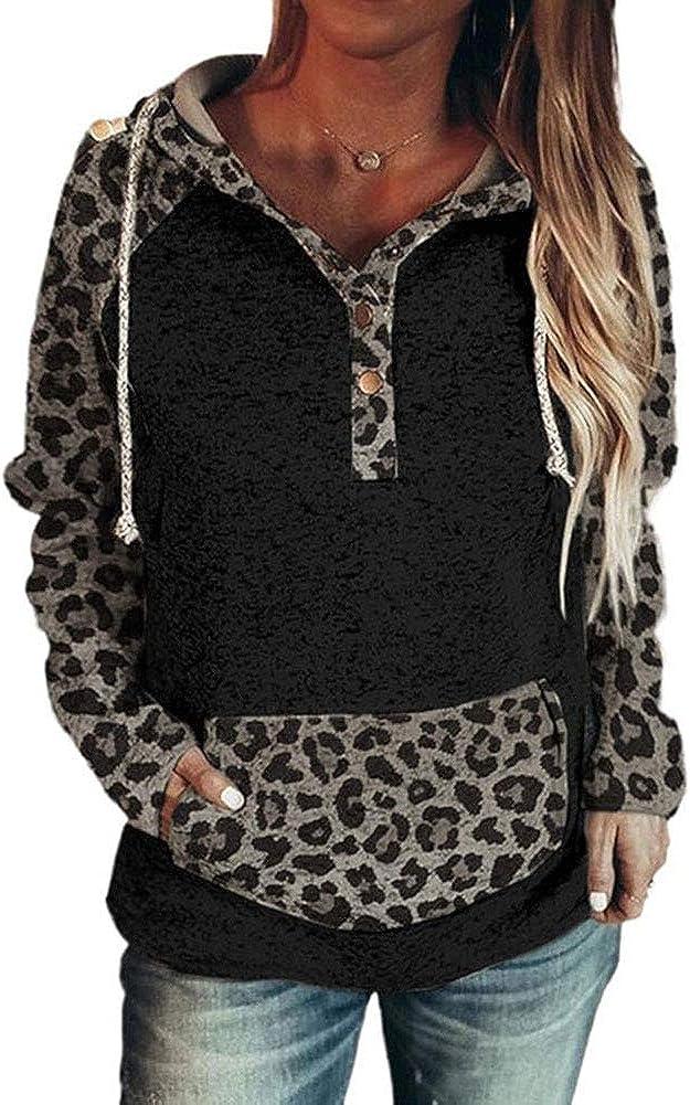 Woman Tops Leopard Print Loose Hooded Long Sleeve Sweatshirt
