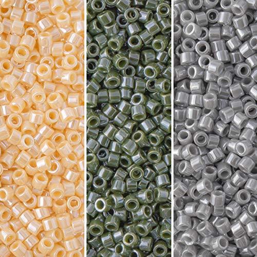 Miyuki Delica Seed Beads Bundle: Size 11/0, Palette Collection DB1561, DB1566, DB1570, 7.2 Grams, 3...