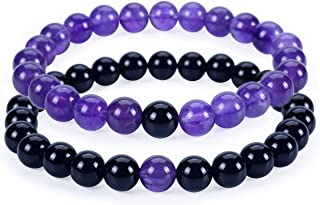 Couples Distance Bracelets | His and Hers | Gemstone Beaded Stretch Bracelets 8mm Round Beads | Multiple Sizes