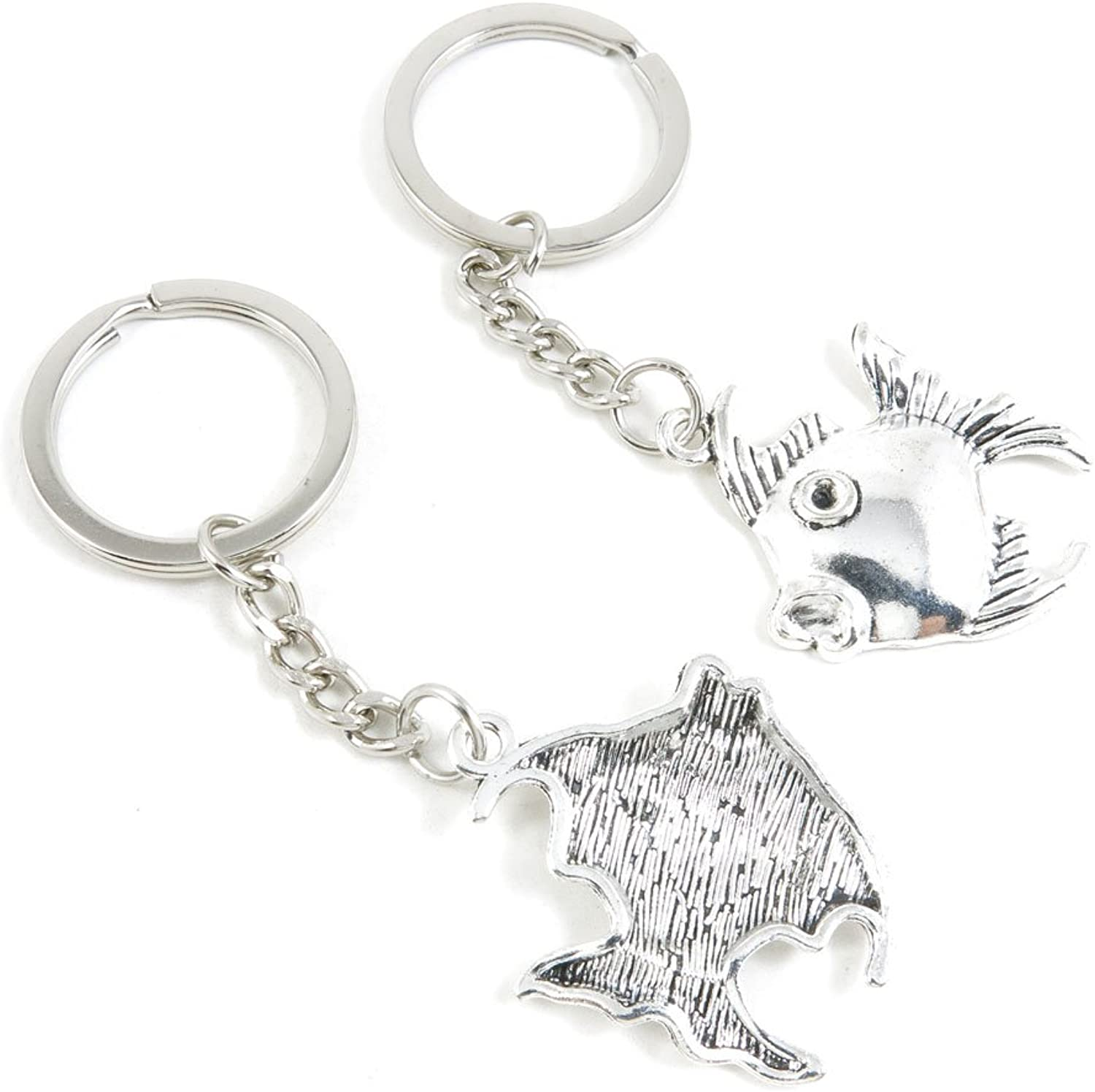 100 Pieces Keychain Keyring Door Car Key Chain Ring Tag Charms Bulk Supply Jewelry Making Clasp Findings X4AW2I Tropical Fish